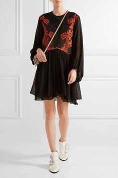 Chloé - Embroidered Linen And Silk-chiffon Mini Dress - Black - FR White Ankle Boots, Black Suede Boots, Leather Ankle Boots, Susanna Boots, Chloe Boots, Best Black, Studded Leather, White Leather, Black Linen