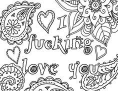 i fcking love you adult coloring book page instant by artswearapy - I Love You Coloring Pages
