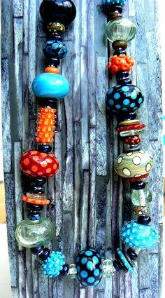 Hollow bead lampwork necklace.