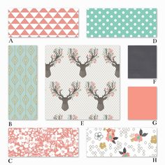 Woodland nursery for your baby girl! Coral, mint and dark gray. Toddler bedding available as well!