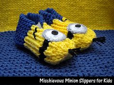 Designed by myself, these original slippers are a favorite of the kids. Not only are they adorable, but they fit great. They are designed to be stretchy and very comfortable. PERFECT gift for every little minion you know.