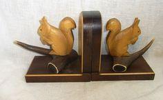 Vintage German Carved Wood Squirrel on Antler Bookends #BP