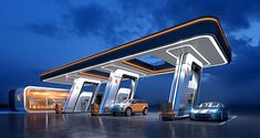 GLUSCO - concept of a gas station on Behance Ev Charging Stations, Future Buildings, Gas Service, Home Building Design, Oil Refinery, Bungalow House Design, Filling Station, Futuristic City, Gate Design