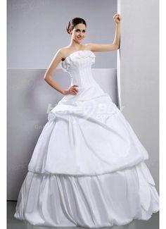 Floor Length Strapless Ruffles Ball Gown Wedding Dress