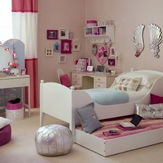 [Room Design Ideas For Teenage Girls Freshome Teen Girl Bedrooms Bedroom Mint Coral Blush White Metallic Gold] teen girl rooms decor and girls bedroom ideas teenagers mint blush desk coral desks pop color gold bedroom mint blush desk coral desks pop color Teenage Girl Bedroom Designs, Girls Room Design, Teen Girl Rooms, Teenage Girl Bedrooms, Small Room Design, Little Girl Rooms, Tween Girls, Kids Rooms, Room Kids