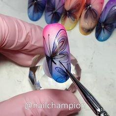 Nail Art Flowers Designs, Nail Art Designs Videos, Gel Nail Art Designs, Nail Art Videos, Daisy Nail Art, Butterfly Nail Art, Flower Nail Art, Acrylic Nail Tips, Black Acrylic Nails