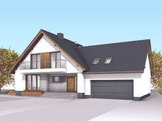 Sopran ciekawa propozycja niewielkiego domu z garażem - Jesteśmy AUTOREM - DOMY w Stylu Village House Design, Bungalow House Design, Village Houses, Virginia, Attic Design, Design Case, House 2, Home Fashion, Shed