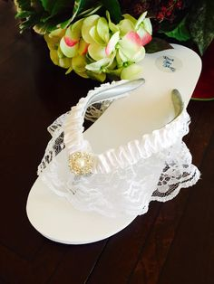 c57017cba56582 Bridal Flip Flops Wedges.Wedding Flip Flops Sandals.White Flip Bride Flip