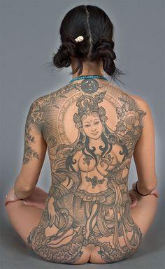 green Tara all-back tattoo - WOW! Kali Tattoo, Backpiece Tattoo, Back Tattoos, Sexy Tattoos, Body Art Tattoos, Tattoos For Women, Tattoo Art, Tiger Tattoo, Color Tattoo