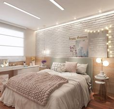 What about this most beautiful brick wall, impeccable lighting, m . Teen Bedroom Designs, Cute Bedroom Ideas, Aesthetic Room Decor, Pretty Room, Dream Rooms, Home Decor Bedroom, Home Decor Inspiration, New Room, Decoration
