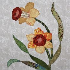 (7) Name: 'Quilting : Daffodils Appliqué Quilt Block