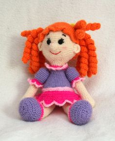 """Knitted doll toy for children * Нand made * Girls gifts * Soft toy. Doll with a """"Redhead"""" curls. In a purple dress.  I'm looking for a best friend. Your girlfriend or daugh... #etsypromoteam"""