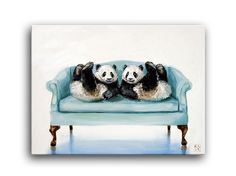 "Cute Baby Panda Bear Bears Twins Rorschach Daily Oil Painting Kimberly Applegate "" i get a kick out of you"""