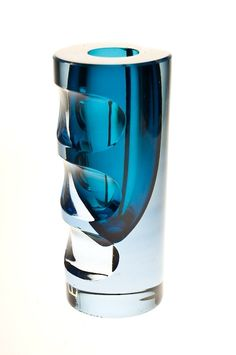 Mona Morales Schildt sommerso vase with cut optic effects