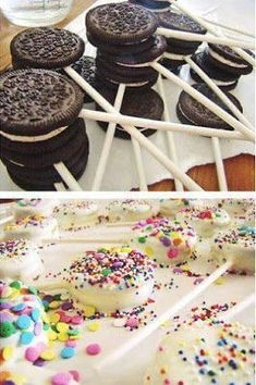 Funny pictures about Oreo Pops. Oh, and cool pics about Oreo Pops. Also, Oreo Pops photos. Oreo Cake Pops, Brownie Pops, Brownie Oreo, Oreo Brownies, Oreo Cupcakes, Pink Cupcakes, Cookie Pops, Wedding Desserts, Fun Desserts