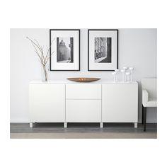 BESTÅ Förvaringskombination+dörrar/lådor, Lappviken vit Lappviken vit 180x40x74 cm lådskena, tryck-och-öppna