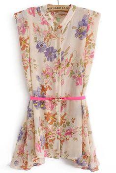 Pink Sleeveless Floral Belt Chiffon Dress 0.00