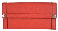 NEW Gucci 231839 Coral Red Leather Plaque Logo Continental Wallet Clutch #Gucci #231839