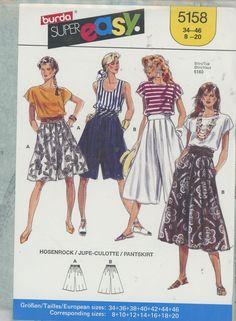 Burda 5158 Pleated wide leg culotte pantskirt cropped shorts skort Size 8-20 New - Sewing Patterns