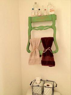 Old chair back into towel holder/shelf