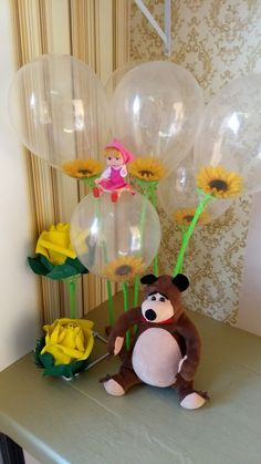 1st Birthday Girls, 3rd Birthday Parties, Sunflower Party Themes, Marsha And The Bear, Baby Shower Yellow, Bear Party, Party Time, Balloons, Disney