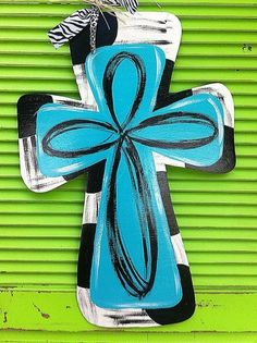 Painted wooden Cross Door Hanger with ribbon