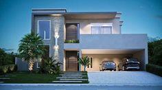 House Front, Modern House Facades, Modern House Plans, House Floor Plans, Casa Duplex, Modern Landscape Design, Modern House Design, Facade House, House Exteriors