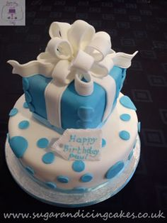 Two Tiered Cakes Gallery Sugar And Icing Image Of Blue Present Cake