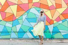 Stripe Top + Yellow Pleated Skirt - Mckenna Bleu
