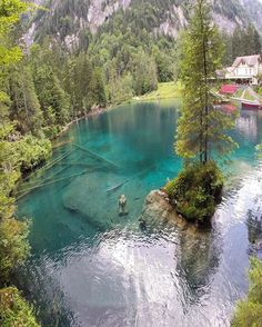 via Blausee Switzerland photo by: Swimming Pool Designs, Swimming Pools, Popular Honeymoon Destinations, Natural Swimming Ponds, Switzerland Vacation, Pond Landscaping, Nature Images, Cool Pools, Nature Photography