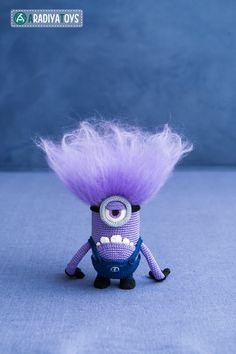 Crochet Pattern of purple monster with one eye by Aradiya on Etsy