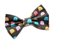 black pacman themed ghost fashion hair bow by uniquechicbowtique, $8.99