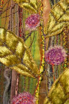 detail from my machine embroidered unframed textile panels the leaves and flowers are velvet. Floral Embroidery, Embroidery Stitches, Hand Embroidery, Textile Design, Textile Art, Textiles, Wet Felting, Fabric Art, Mixed Media Art