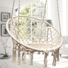 Brand: Sorbus Features: HAMMOCK CHAIR MACRAME SWING - Relax and unwind with a hanging macrame hammock swing chair - Complements any setting for cozy resting spo Hanging Swing Chair, Hammock Swing Chair, Swinging Chair, Hanging Rope, Bedroom Swing Chair, Hanging Plants, Rocking Chair, Rope Hammock, Rope Swing