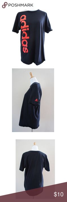 Adidas black printed shirt L Pre-owned, no rip , no faded color adidas Tops