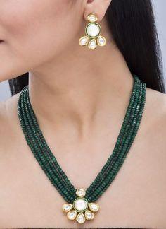 Designer-CZ-Polki-Kundan-4-Strand-Green-Stone-Enamel-18K-Gold-Tone-Necklace-Set