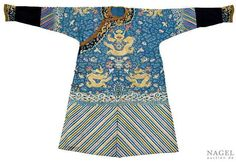 A finely embroidered blue-ground silk Dragon robe, China, 19th century. Photo Nagel