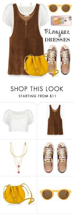 """""""Pinafore dress"""" by maria-maldonado ❤ liked on Polyvore featuring MANGO, Vanessa Mooney, Gucci, Casetify, pinafores and 60secondstyle"""