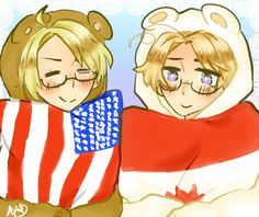 Hetalia ~ America and Canada Hetalia America, America And Canada, Disney Characters, Fictional Characters, Fandoms, Disney Princess, American, Manga, Anime