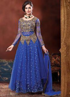 Blue Net Layered Ankle Length Anarkali