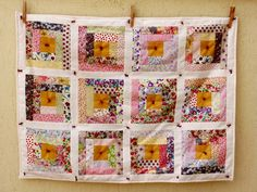 Liberty Log Cabin Baby Girl Quilt by http://quiltingstories.blogspot.com/2015/05/liberty-log-cabin-knots-baby-girl-crib-quilt-finished.html