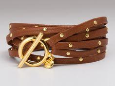 leather triple strand bracelet