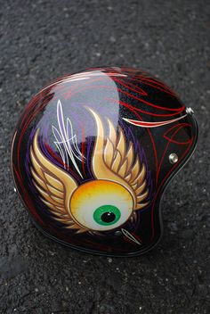 Rat Fink & Flying Eyeball Pinstriped Helmet- tattoo idea for the hubby