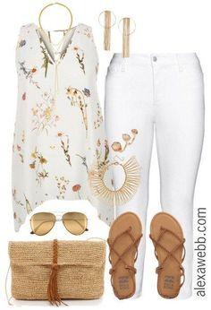 Plus Size Outfit Idea - Plus Size White Jeans - Plus Size Fashion for Women - alexawebb.com #alexawebb