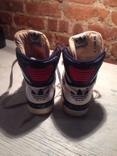 Patric Ewing Blue and White Vintage 1980's Adidas High Top Sneakers Size 4 | eBay
