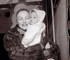 Gene Tierney with daughter Daria. A Mother's Day Picture Gallery–Hollywood Mothers and Their Children | Backlots
