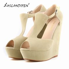98aa216acd LOSLANDIFEN Fashion Summer Women Shoes Open Toe flock Leather Platform High  Heel Gladiator Sandals Chunky free