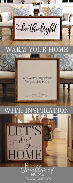 Smallwood Home has everything you need to warm up your home and create inspiration wherever you turn, like these wooden framed signboards with heart felt quotes. Find one that speaks to you at smallwoodhome.com today.