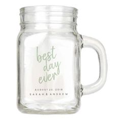 Best Day Ever Red Wedding Party Mason Jar - personalize gift idea diy or cyo Personalized Mason Jars, Custom Mason Jars, Personalized Gifts, Personalized Wedding, Mason Jar Crafts, Mason Jar Diy, For You Song, Just For You, Mason Jar Wedding Favors