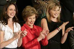 Laura Bush with Jenna and Barbara